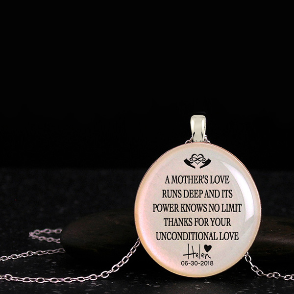 Customized necklace for mom from daughter or son with deep quote and silhouette. Homemade mothers day gift ideas for mother.