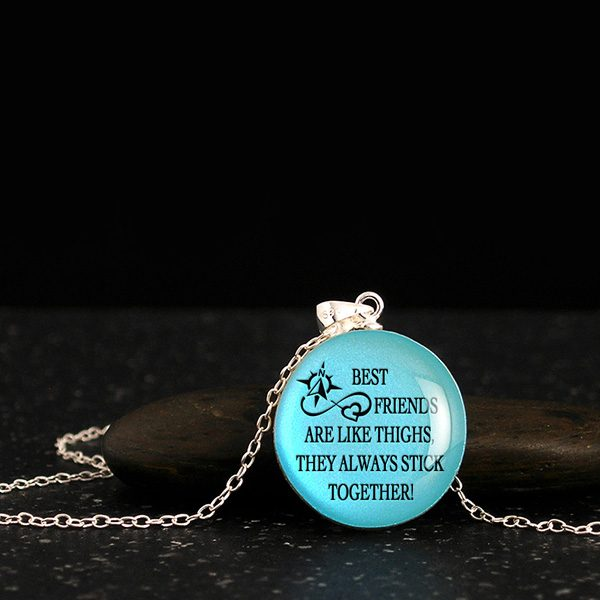 Friendship jewelry for her, wood pendants with quote and silhouette. Friendship gift ideas for best friends or bridesmaids.