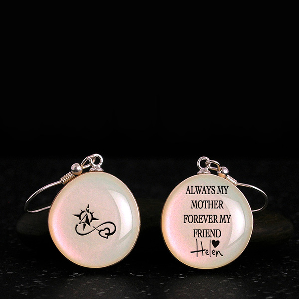 Gifts for mother from daughter or son, cool earrings with quote, silhouette. Homemade gifts for mom with daughter name, date.