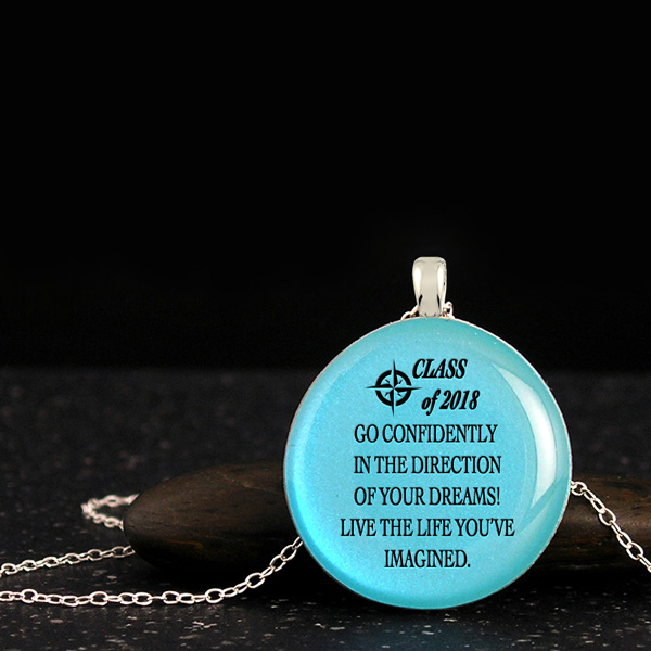 Graduation necklace with Henry David Thoreau confidence quotes and class of 2018 words. Inspirational jewelry for graduates.