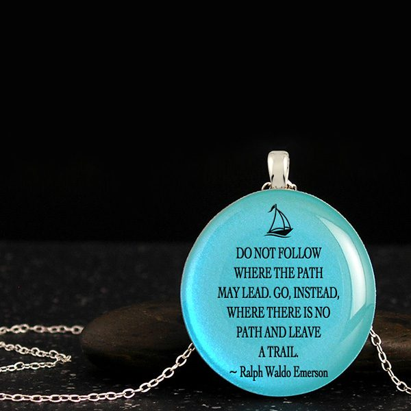 Inspirational jewelry with powerful poems, best graduation gifts for friends with quote, sail boat silhouette on wood pendant