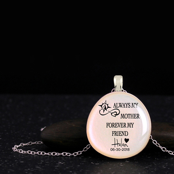 Love necklace, cool mothers day gifts with quote, name, date and silhouette. Personalized gifts for mom from daughter or son.