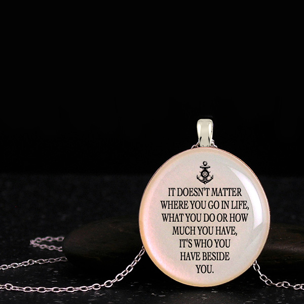 Meaningful jewelry for her, cool pendants with quote and anchor silhouette. Awesome gift for best friends or bridesmaids.
